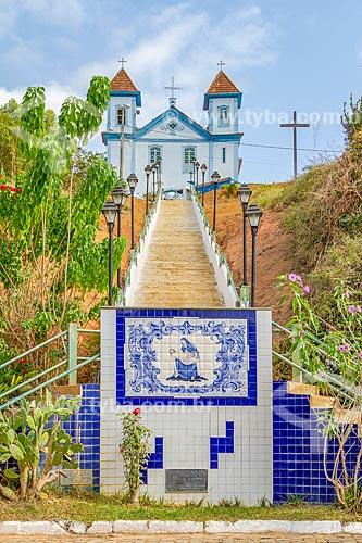 Vista da escadaria da Igreja de Nossa Senhora da Piedade (1857)  - Leopoldina - Minas Gerais (MG) - Brasil