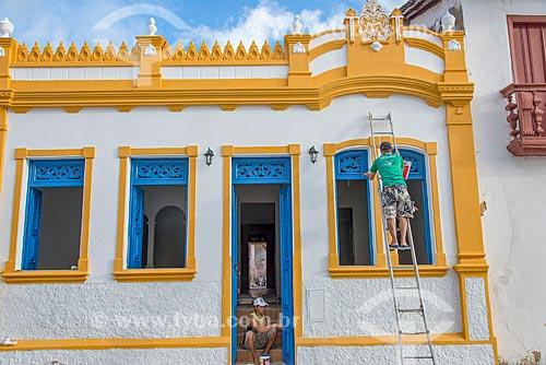 Casario sendo pintado no centro histórico da cidade de São Cristóvão  - São Cristóvão - Sergipe (SE) - Brasil