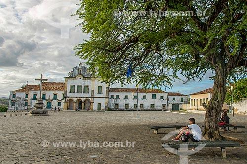 Vista da Praça São Francisco com a Igreja e Convento de Santa Cruz - também conhecido como Convento de São Francisco - ao fundo  - São Cristóvão - Sergipe (SE) - Brasil