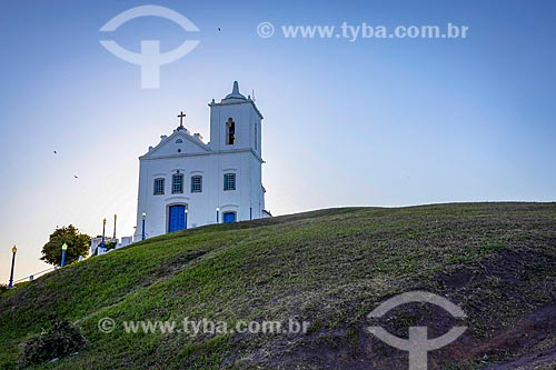 Fachada da Igreja Nossa Senhora de Nazareth (1837) durante o pôr do sol  - Saquarema - Rio de Janeiro (RJ) - Brasil
