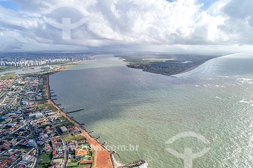 Foto feita com drone da foz do Rio Sergipe  - Aracaju - Sergipe (SE) - Brasil