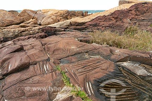 Oficina lítica na orla da Praia da Ferrugem  - Garopaba - Santa Catarina (SC) - Brasil