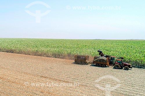 Foto feita com drone de colheita mecanizada de cana-de-açúcar  - Guatapará - São Paulo (SP) - Brasil