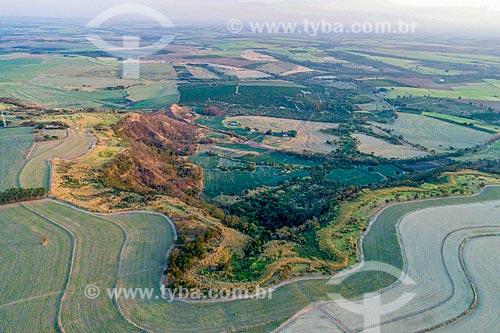 Vista de drone de canavial no cume da Serra de Jaboticabal  - Taquaritinga - São Paulo (SP) - Brasil