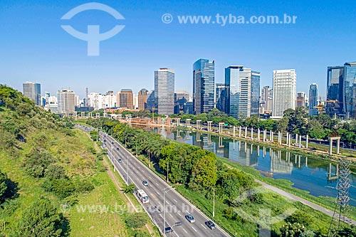 Foto feita com drone do Rio Pinheiros  - São Paulo - São Paulo (SP) - Brasil
