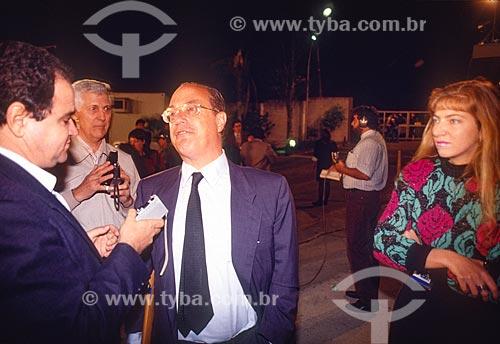Paulo Maluf - candidato à presidência pelo Partido Democrático Social (PDS) - concedendo entrevista - década de 80  - Rio de Janeiro - Rio de Janeiro (RJ) - Brasil