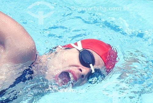 Detalhe de mulher nadando - década de 2000   - Rio de Janeiro - Rio de Janeiro (RJ) - Brasil