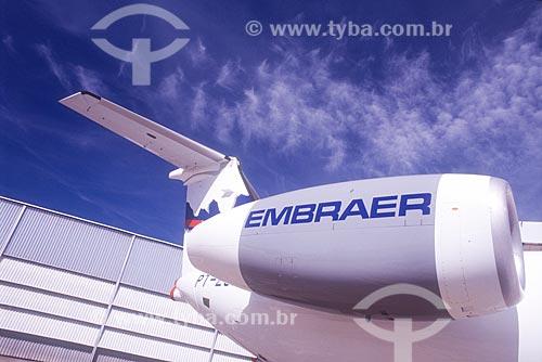 Detalhe de avião na fábrica da EMBRAER  - São José dos Campos - São Paulo (SP) - Brasil