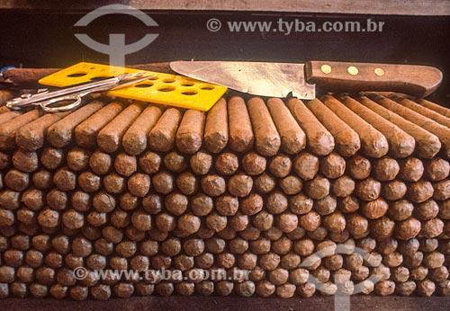 Detalhe de charutos produzidos artesanalmente  - Bahia (BA) - Brasil