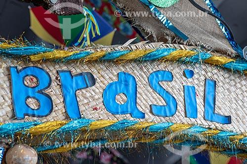 Detalhe de letreiro com o dizer: Brasil no Centro Luiz Gonzaga de Tradições Nordestinas  - Rio de Janeiro - Rio de Janeiro (RJ) - Brasil