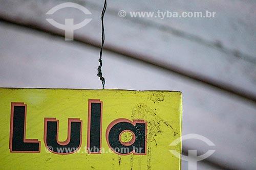 Detalhe de placa com os dizeres: Lula no Centro Luiz Gonzaga de Tradições Nordestinas  - Rio de Janeiro - Rio de Janeiro (RJ) - Brasil