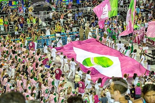 Desfile do Grêmio Recreativo Escola de Samba Estação Primeira de Mangueira - Bandeira do Brasil nas cores verde e rosa - Enredo 2019 - História para ninar gente grande  - Rio de Janeiro - Rio de Janeiro (RJ) - Brasil