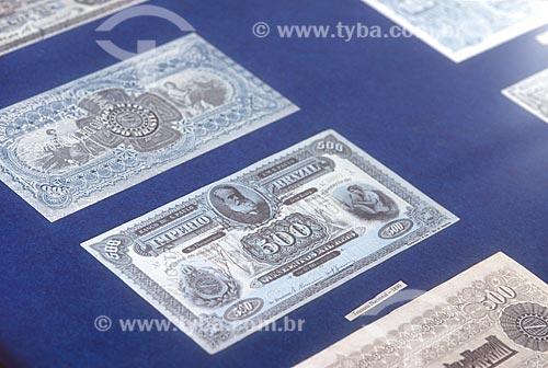 Detalhe de moeda Brasileira - Réis - em exibição na Casa dos Contos (1784) (Museu e Centro de Estudos do Ciclo do Ouro) - década de 2000  - Ouro Preto - Minas Gerais (MG) - Brasil