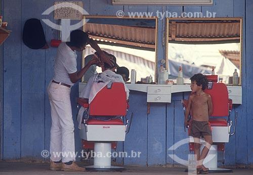 Barbearia próximo ao distrito de Serra Pelada - década de 80  - Curionópolis - Pará (PA) - Brasil