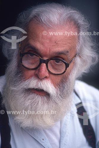 Detalhe do escultor Francisco Brennand - década de 90  - Recife - Pernambuco (PE) - Brasil