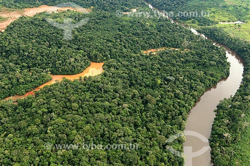 Foto aérea de danos causados por garimpo no Rio Juma  - Novo Aripuanã - Amazonas (AM) - Brasil