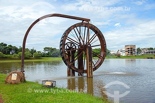Detalhe de roda de água no Parque Ecológico JK  - Jataí - Goiás (GO) - Brasil