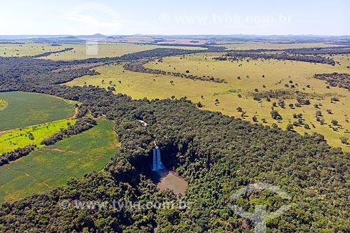 Foto feita com drone da Cachoeira da Abóbora  - Caiapônia - Goiás (GO) - Brasil