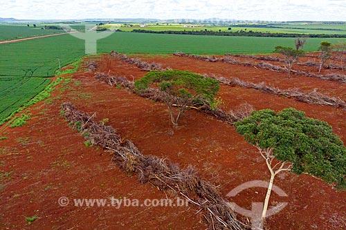 Foto feita com drone de plantação de Soja com área desmatada para ampliação de área de plantio  - Caiapônia - Goiás (GO) - Brasil
