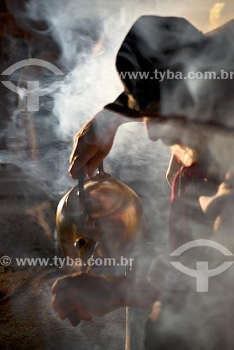 Gaúcho com indumentária típica e chimarrão  - São Francisco de Paula - Rio Grande do Sul (RS) - Brasil