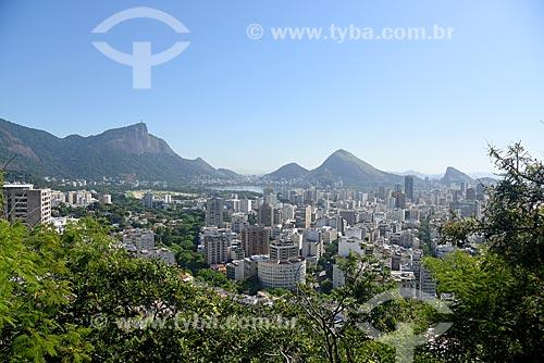 Vista do bairro da lagoa a partir do Parque Natural Municipal Penhasco Dois Irmãos  - Rio de Janeiro - Rio de Janeiro (RJ) - Brasil