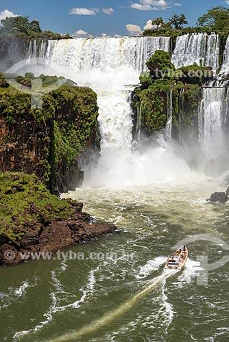 Passeio turístico de barco no Rio Iguaçu próximo às Cataratas do Iguaçu no Parque Nacional do Iguaçu  - Puerto Iguazú - Província de Misiones - Argentina