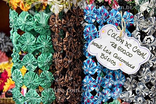 Artesanato em tecido em exibição na Feira Rio Artes Manuais no Centro de convenções SulAmérica  - Rio de Janeiro - Rio de Janeiro (RJ) - Brasil