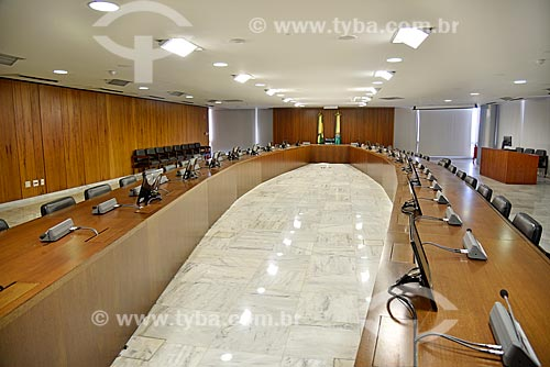 Sala de Reunião Suprema - antigo Salão Oval - localizada no 2º andar do Palácio do Planalto - sede do governo do Brasil - mobiliário projetado por Sérgio Rodrigues  - Brasília - Distrito Federal (DF) - Brasil