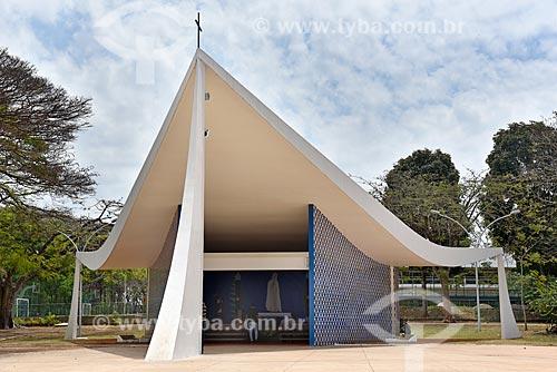 Fachada da Igreja de Nossa Senhora de Fátima (1958) - também conhecida como Igrejinha da 307/308 Sul  - Brasília - Distrito Federal (DF) - Brasil