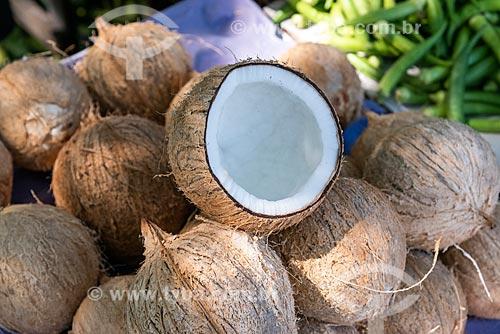 Detalhe de coco à venda na Feira livre da Praça Nicarágua  - Rio de Janeiro - Rio de Janeiro (RJ) - Brasil