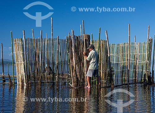 Pescador montando curral de pesca na Baía de Guanabara durante o amanhecer  - Magé - Rio de Janeiro (RJ) - Brasil