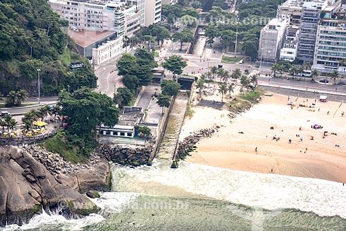 Foto aérea de estação de tratamento de esgoto na próximo ao Mirante do Leblon  - Rio de Janeiro - Rio de Janeiro (RJ) - Brasil