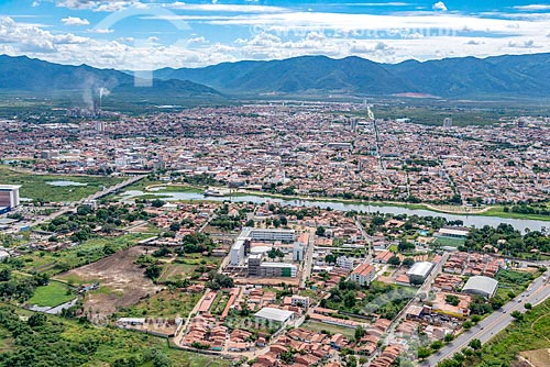 Foto feita com drone da cidade de Sobral com o Rio Acaraú  - Sobral - Ceará (CE) - Brasil