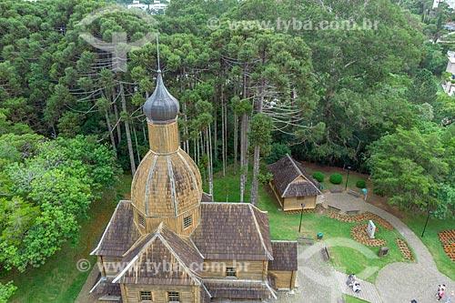 Foto feita com drone do Memorial Ucraniano no Parque Tingui  - Curitiba - Paraná (PR) - Brasil