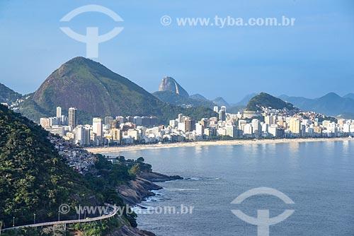Foto aérea da Avenida Niemeyer com a Praia de Ipanema e o Pão de Açúcar ao fundo  - Rio de Janeiro - Rio de Janeiro (RJ) - Brasil
