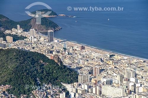 Foto aérea da Praia de Copacabana e da Praia do Leme  - Rio de Janeiro - Rio de Janeiro (RJ) - Brasil