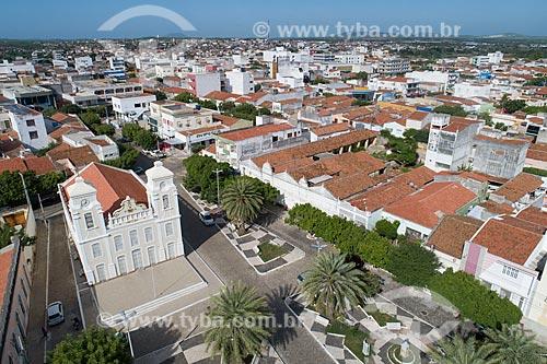 Foto feita com drone do Santuário de Nossa Senhora do Rosário (1864) e a cidade de Caicó  - Caicó - Rio Grande do Norte (RN) - Brasil