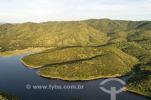 Foto feita com drone de açude durante o período de chuvas  - Barro - Ceará (CE) - Brasil