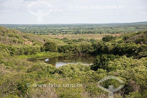 Pequeno açude na zona rural da cidade de Penaforte durante o período de chuva  - Penaforte - Ceará (CE) - Brasil