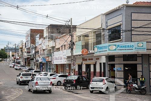 Rua comercial no centro da cidade de Currais Novos  - Currais Novos - Rio Grande do Norte (RN) - Brasil