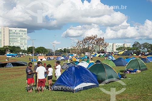 Barracas durante o 15º Acampamento Terra Livre na Esplanada dos Ministérios  - Brasília - Distrito Federal (DF) - Brasil
