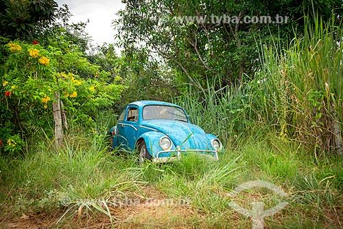 Fusca estacionado em meio à vegetação na rural da cidade de Guarani  - Guarani - Minas Gerais (MG) - Brasil