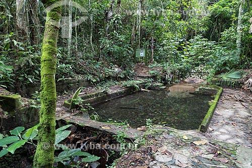 Reservatório Banheira do Imperador (século XIX) - 1ª estação de captação de águas do Rio Carioca, hoje desativada - no Parque Nacional da Tijuca  - Rio de Janeiro - Rio de Janeiro (RJ) - Brasil