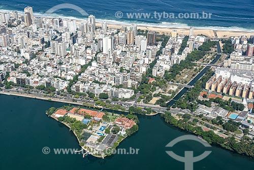 Foto aérea do Clube dos Caiçaras na Lagoa Rodrigo de Freitas com o Jardim de Alah  - Rio de Janeiro - Rio de Janeiro (RJ) - Brasil