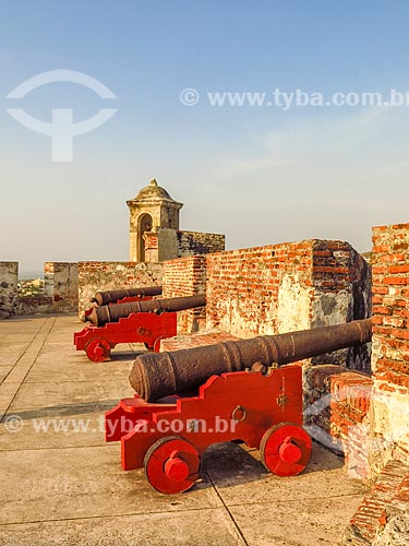 Canhões do Castillo San Felipe de Barajas (Castelo de São Felipe de Barajas) - 1657  - Cartagena - Departamento de Bolívar - Colômbia