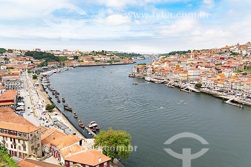 Vista de trecho do Rio Douro com a Vila Nova de Gaia - à esquerda - e a cidade do Porto - à direita  - Porto - Distrito do Porto - Portugal