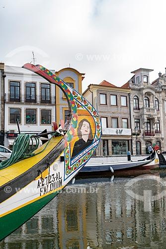 Detalhe de moliceiro decorado com pintura da cantora de fado Amália Rodrigues  - Aveiro - Distrito de Aveiro - Portugal