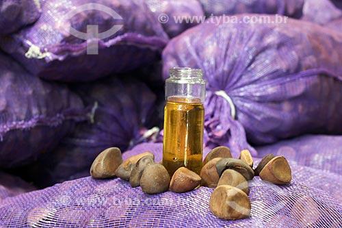 Detalhe de óleo e sementes de andiroba (Carapa guianensis) - conhecida por suas propriedades cosméticas - na Comunidade Ribeirinha do Bauana  - Carauari - Amazonas (AM) - Brasil