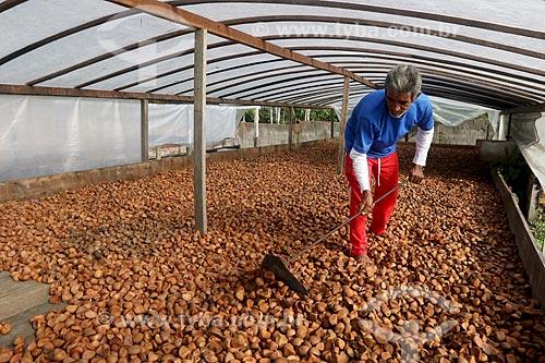 Produtor rural durante secagem da semente de andiroba na Reserva de Desenvolvimento Sustentável de Uacari  - Carauari - Amazonas (AM) - Brasil