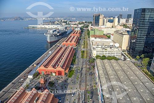 Foto aérea do Armazéns do Cais da Gamboa - Porto do Rio de Janeiro  - Rio de Janeiro - Rio de Janeiro (RJ) - Brasil